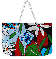 Weekender Tote Bag featuring the painting A Butterflies Paradise by Kathleen Sartoris