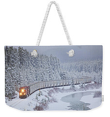 A Canadian Pacific Train Travels Along Weekender Tote Bag