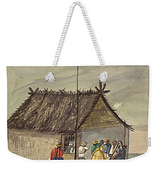 Weekender Tote Bag featuring the painting A Cane Rancho Or Hut Erected For The Purpose Of Dancing Lima Costumes, Ca. 1853 ,fierro, Pancho,  by Artistic Panda