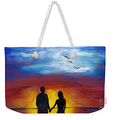 Weekender Tote Bag featuring the painting A Captivating Love by Leslie Allen