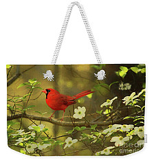 Weekender Tote Bag featuring the photograph A Cardinal And His Dogwood by Darren Fisher