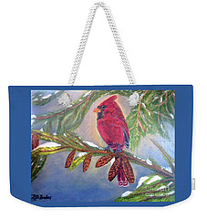 A Cardinal's Sweet And Savory Song Of Winter Thawing Painting Weekender Tote Bag