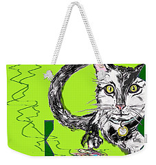 Weekender Tote Bag featuring the drawing A Cat by Desline Vitto