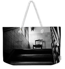 A Chair At The Top Of The Stairway Bw Weekender Tote Bag by RicardMN Photography