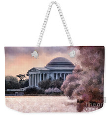 Weekender Tote Bag featuring the digital art A Cherry Blossom Dawn by Lois Bryan