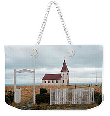 Weekender Tote Bag featuring the photograph A Church With No Fence by Dubi Roman