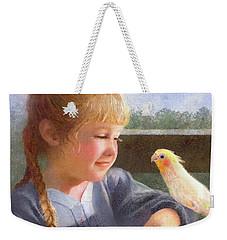 Weekender Tote Bag featuring the painting A Cockatiel Named Sunshine by Nancy Lee Moran