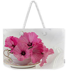 A Cup Of Pink Lavatera Flowers Weekender Tote Bag by Sandra Foster