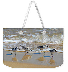 A Cute Quartet Of Sandpipers Weekender Tote Bag