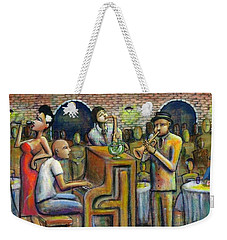 A Damn Good Night Weekender Tote Bag by Nelson Perez