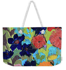 Weekender Tote Bag featuring the painting A Dandelion Weed Making It's Way In The Garden by Robin Maria Pedrero