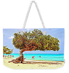 Weekender Tote Bag featuring the photograph A Day At Eagle Beach by DJ Florek
