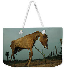 A Desiccated Horse Carcass Propped Weekender Tote Bag