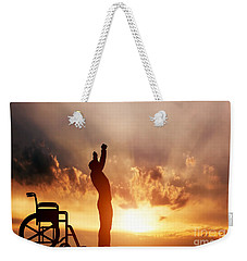 A Disabled Man Standing Up From Wheelchair Weekender Tote Bag