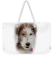 Weekender Tote Bag featuring the photograph A Dog Named Butterfly by Karen Wiles