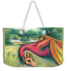 Weekender Tote Bag featuring the pastel A Dragon In Cheshire by MM Anderson