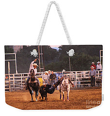 A Dusty Rodeo Challenge Weekender Tote Bag by Natalie Ortiz