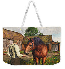Weekender Tote Bag featuring the digital art A Farmer And His Horse by Jayne Wilson