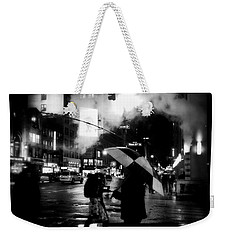 A Foggy Night In New York Town - Checkered Umbrella Weekender Tote Bag