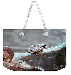 Weekender Tote Bag featuring the photograph A Frog On A Pot by Victor K