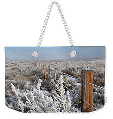 Weekender Tote Bag featuring the photograph A Frosty And Foggy Morning On The Way To Steamboat Springs by Cascade Colors