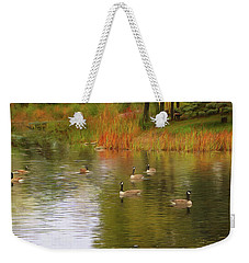 A Gaggle Of Geese Weekender Tote Bag by Cedric Hampton