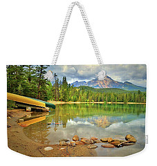 Weekender Tote Bag featuring the photograph A Gentle Light At Lake Annette by Tara Turner