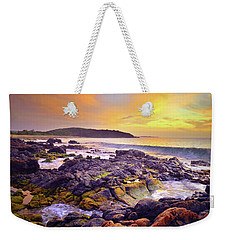 Weekender Tote Bag featuring the photograph A Gentle Wave At Sunset by Tara Turner