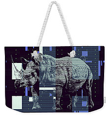 Weekender Tote Bag featuring the digital art A Geometric Rhinoceros. by Anthony Murphy