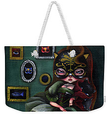 A Girl Wearing Mask Of Cat Weekender Tote Bag
