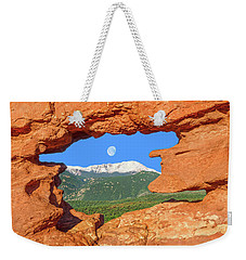 A Glimpse Of The Mighty Rockies Through A Rocky Window  Weekender Tote Bag