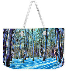 Weekender Tote Bag featuring the painting A Grove In Snow by Dave Luebbert
