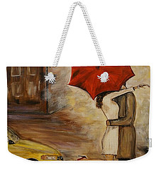A Hello Kiss Weekender Tote Bag by Leslie Allen