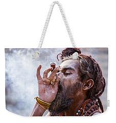 A Hindu Sadhu Smoking A Hash Pipe - India. Weekender Tote Bag
