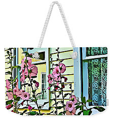 Weekender Tote Bag featuring the digital art A Holly Hocks Morning by Mindy Newman