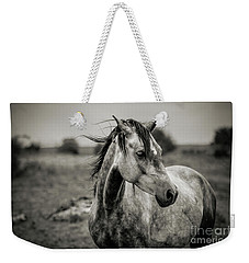 A Horse In Profile In Black And White Weekender Tote Bag