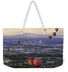 A Hot Air Ride To Albuquerque Cropped Weekender Tote Bag by Daniel Woodrum
