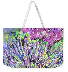 A Lavender Floral Weekender Tote Bag by Esther Newman-Cohen