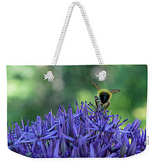 Weekender Tote Bag featuring the photograph A Little Bee Hind by Jani Freimann