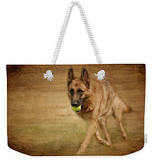 Weekender Tote Bag featuring the photograph A Little Playtime - German Shepherd Dog by Angie Tirado