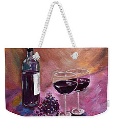 A Little Wine On My Canvas - Wine - Grapes Weekender Tote Bag