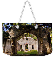 Weekender Tote Bag featuring the photograph A Look Into The Chapel Of Ease St. Helena Island Beaufort Sc by Lisa Wooten