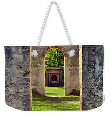 Weekender Tote Bag featuring the photograph A Look Through Chapel Of Ease St. Helena Island Beaufort Sc by Lisa Wooten