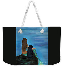 Weekender Tote Bag featuring the painting A Loyal Buddy by Leslie Allen