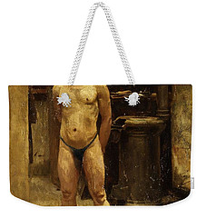 Weekender Tote Bag featuring the painting A Male Model Standing Before A Stove John Singer Sargent by Artistic Panda