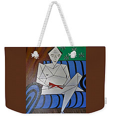 A Man With A Red Stiletto  Weekender Tote Bag