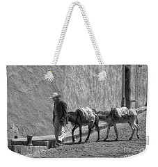 A Man With Two Burros Weekender Tote Bag