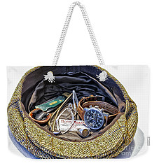 Weekender Tote Bag featuring the photograph A Man's Items by Walt Foegelle
