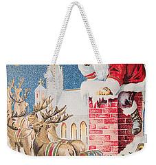 A Merry Christmas Vintage Greetings From Santa Claus And His Raindeer Weekender Tote Bag