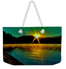 A Misty Sunrise On Priest Lake Weekender Tote Bag by David Patterson